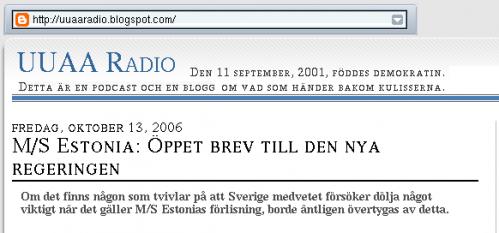 M/S Estonia: Öppet brev till den nya regeringen, del 1