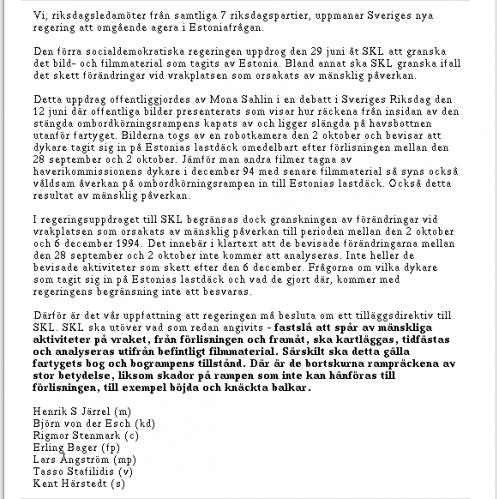 M/S Estonia: Öppet brev till den nya regeringen, del 2